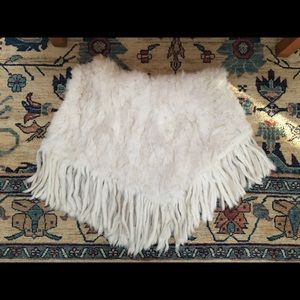 Authentic Rabbit Fur Poncho with Fringe